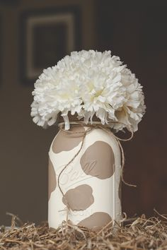 Im calling it a blonde cow. Fun DIY country style mason jar. I just used spray paint and latex paint.