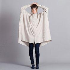 40% OFF - Japanese Dress Loose Fitting Dress - Mandarin Collar - Oversized dress - standupcollar ShirtDress - Two Tone - Plus Size Clothing