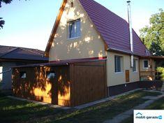 Mobilgarázs aranytölgy fahatású házhoz építve közvetlenül Shed, Outdoor Structures, Cabin, House Styles, Home Decor, Decoration Home, Room Decor, Cabins, Cottage