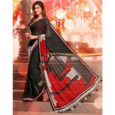 Black Georgette #Saree With #Blouse #Clothing Buy Now