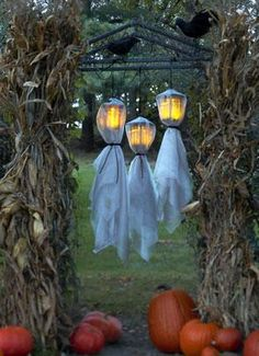 Halloween - Cheese cloth over hanging lanterns on a arbor in the yard.  What a great idea.