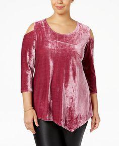 NY Collection Plus Size Velvet Cold-Shoulder Top