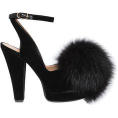 Sonia Rykiel Women 120mm Velvet Sandals W/ Fox Fur Pom Pom ($885) ❤ liked on Polyvore featuring shoes, sandals, black, velvet sandals, black shoes, black platform shoes, velvet platform shoes and leather sole shoes