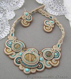 i like the sides and back part - ideas Bead Jewellery, Boho Jewelry, Beaded Jewelry, Jewelery, Handmade Jewelry, Jewelry Design, Fashion Jewelry, Soutache Pendant, Soutache Necklace
