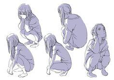 「「しゃがみを考える。」」/「toshi... Human Drawing, Manga Drawing, Figure Drawing, Drawing Reference, Manga Art, Sketch Poses, Drawing Poses, Character Poses, Character Design