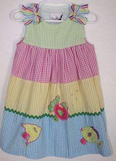 Edições Raras Da Menina Vestido guingão Seersucker Sz 2t ~ Vestido de verão Peixe
