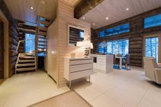 Villa Vuosselinranta - Luxury Holiday Villas at Ruka, Finland Villas, Living Room Modern, Living Rooms, Luxury Holidays, Log Homes, Cottage, Cabin, Bedroom, Outdoor Decor