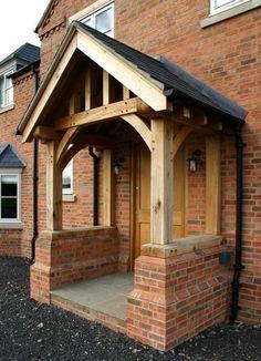 Porch a bit too small for seat Cottage Front Porches, Bungalow Porch, House Front Porch, Front Porch Design, House Entrance, Porch Oak, Porch Tile, Brick Porch, Brick Cottage
