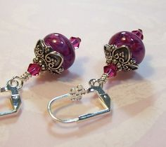 Artisan Lampwork Dangle Earrings  Fuschia by taraashleytreasures, $29.95