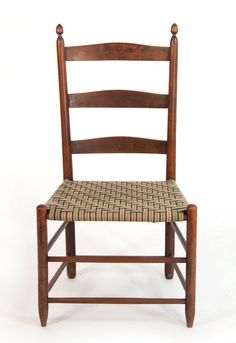 """Lot 101: Shaker Chair Production side chair, """"3"""", taped seat, New Lebanon, NY, 13 3/4″ seat h, 33 1/4″ overall h, (ex. William Moore estate, Milton, MA)."""
