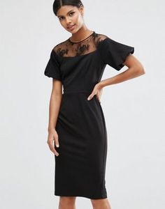 ASOS Pencil Dress with Lace Yoke and Puff Sleeve