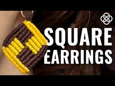 Today I want to show you how to make square macrame earrings! You need: - 8 waxed cords 40 cm length mm thick) - Earring hooks Macrame lea. Macrame Earrings Tutorial, Micro Macrame Tutorial, Macrame Bracelet Diy, Earring Tutorial, Bracelet Tutorial, Macrame Knots, Chevron Friendship Bracelets, Friendship Bracelets Tutorial, Diy Bracelets Easy