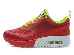 Faites des emplettes pour la vente Nike Air Max Thea Chaussures Femme/Homme Woven QS Atomic Rouge Volt Blanche France Outlet