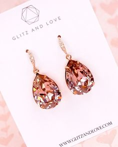 Vintage Rose Crystal Teardrop Earrings in Rose Gold, Simple Bridesmaid Earrings,… - Wedding Jewelry Wedding Jewellery Gifts, Bridal Jewelry, Jewelry Gifts, Fine Jewelry, Jewelry Box, Wedding Necklaces, Jewelry Ideas, Jewlery, Vintage Rosen
