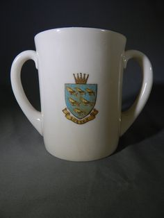 Vintage Double Handled W.H. Goss Mug, Tankard - Sussex Heraldic Shield and Bognor Coat of Arms, Crest by SlyfieldandSime on Etsy