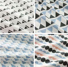 Scandinavian Nordic Swedish Vintage Simple Patten Fabric Cotton 100% Panel, 4 Design fabric Package