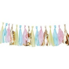 Pastel And Gold Tassel Garland Party Bunting by Ginger Ray, the perfect gift for Explore more unique gifts in our curated marketplace. Diy Tassel Garland, Balloon Tassel, Deco Pastel, Pastel Decor, Birthday Garland, Party Bunting, Unicorn Party Supplies, Baby Shower Party Supplies, Décoration Baby Shower