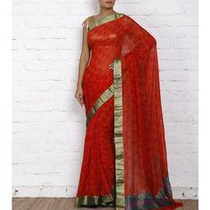 Red Block Printed Chiffon Saree