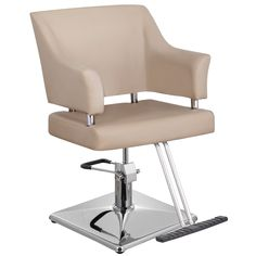 Cameron Styling Chair SC-14KH  Transform your salon with this sophisticated Cameron Styling Chair, upholstered with soft PVC leather and designed with a wide backrest and seat cushion.  The opened sides make for easy and thorough cleaning.  Features a polished chrome base, hydraulic pump, and T-shaped footrest.