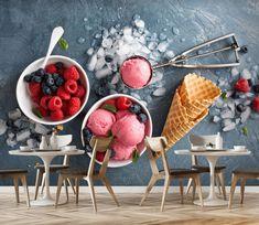 Wall Murals - Wallpaper - U. Delivery Page 2 Blueberry Ice Cream, Strawberry Blueberry, Ice Cream Day, Ice Cream Parlor, Parlour Design, Marshmallow Sauce, Ice Cream Business, Food Cart Design, Gelato Shop