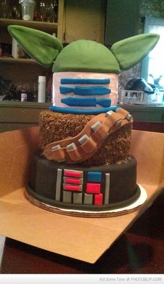 Star Wars Cake! @Kristin Plucker Plucker Fletcher, this reminds me of Jackson and Maddie's first Halloween! It would be awesome if the boys ever want a SWs party :)