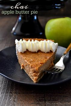 Chai Apple Butter Pie: a flavorful, EASY pie made with apple butter and chai spices. Perfect for the holidays as an alternative to pumpkin pie! Simple, silky-smooth, spicy, sweet and utterly fantastic!