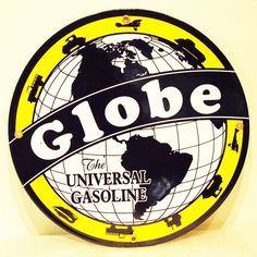 Globe, the Universal Gasoline reproduction sign. #vintage #collectible Shop now at www.gaspumpheaven.com!