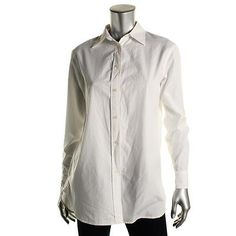 Women Tops And Blouses: Lauren Ralph Lauren 1569 Womens White Cotton Button-Down Top Shirt M Bhfo BUY IT NOW ONLY: $34.99