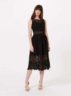 Black Mixed Lace Midi Dress - Miss Selfridge