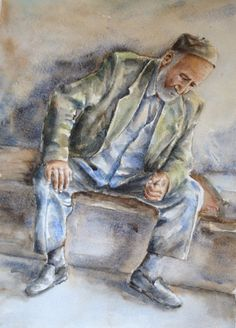 Original watercolor painting ... 'Man in thought' by SuayaArt, $85.00