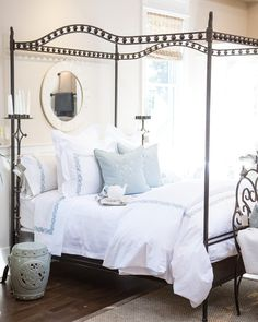 Rustic wrought iron bed canopy bed frame from Jan Barboglio