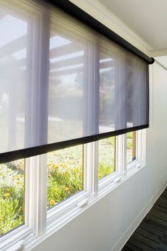 RB 500 roller-shade system with polyester GreenScreen Eco in Pewter by Hunter Douglas Contract, 800-727-8953; hunterdouglascontract.com.