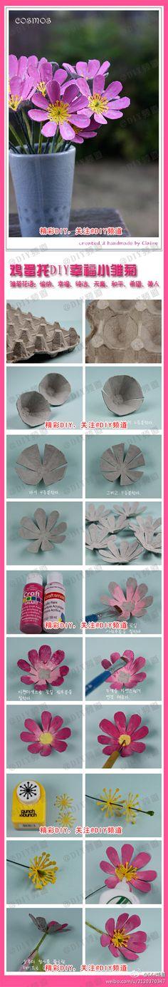 Flowers from an egg carton
