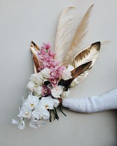 Modern structural wedding bouquet with gold painted leaves, orchids and pampas grass Bouquet Bride, Fall Wedding Bouquets, Wedding Flower Arrangements, Flower Bouquet Wedding, Floral Wedding, Floral Arrangements, Gold Bouquet, Bouquet Flowers, Bridal Bouquets