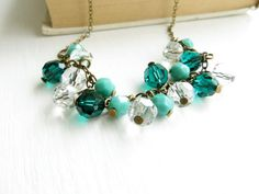 Emerald Green Necklace  cluster crystal by OhNostalgiaDesigns, $30.00