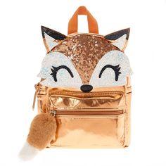 Farrah The Fox Metallic Backpack - Rose Gold - Back To School Cute Mini Backpacks, Girl Backpacks, Fashion Bags, Fashion Backpack, Justice Bags, Metallic Backpacks, Mini Mochila, Claire's Accessories, Girls Bags