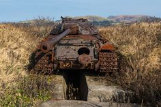 Abandoned Russian tanks on Shikotan island in Japan.