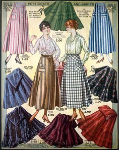 Petticoats & Skirts, Eaton's Spring & Summer Catalog, 1917 (so pretty!). #vintage #Edwardian #fashion