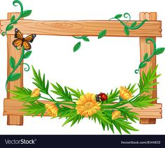 Buy Wooden Frame with Flowers and Insects by BlueRingMedia on GraphicRiver. Wooden frame with flowers and insects illustration Free Frames And Borders, Boarders And Frames, Borders For Paper, Frame Border Design, Boarder Designs, Page Borders Design, Page Boarders, Simple Background Images, School Frame