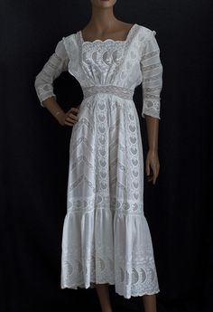 Embroidered Tea Dress Lavishly Decorated With Machine Embroidered Cutwork And Lace Inserts   c.1910