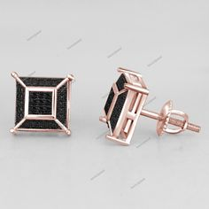 DTJEWELS 1//8 Ctw Pink Sapphire Stud Earrings For Mens /& Womens In 14K White Gold Plated 925 Silver
