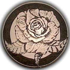 DIMAS SÁNCHEZ MORADIELLOS LOVE TOKEN - ROSA - BUFFALO NICKEL Buffalo, Cactus, Coins, Carving, Money, Rooms, Silver, Wood Carvings, Sculptures