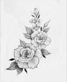 Skull Tattoo Ideas - Wolf Finger Tattoo - Wolf Hip Tattoo - Feather Tattoo Old School - Neck Tattoo For Guys Rose Tattoos, Flower Tattoos, Black Tattoos, Body Art Tattoos, 3 Roses Tattoo, Skull Tattoos, Tatoos, Rose Drawing Tattoo, Tattoo Drawings