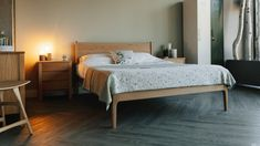 The Camden handmade bed is a contemporary take on a classic mid-century style, made in a range of solid hardwoods in Sheffield UK. Free UK Delivery. Buy Online.