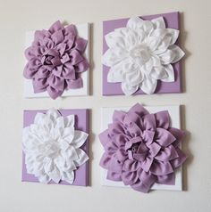 "Set of Four Lilac and White 12 x12"" Canvases Wall Art- CHOOSE YOUR COLORS-"