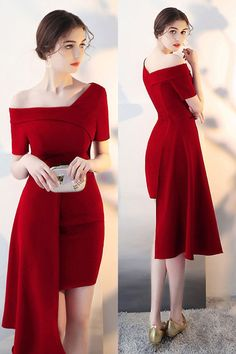 bcdaeec638d2 Burgundy Fitted Cocktail Party Dress with Asymmetrical Design #HTX86055 -  GemGrace.com