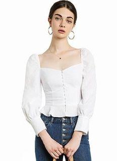 e6a60550292a20 Shop Elegant Square Neck Puff Sleeve Blouse at EZPOPSY.