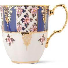 ROYAL ALBERT Regency Blue 1900 mug ($30) ❤ liked on Polyvore featuring home, kitchen & dining, drinkware, royal albert, blue mug, blue drinkware and floral mug