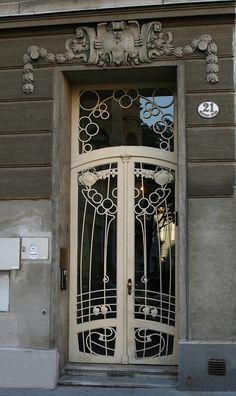 Beautiful Art Nouveau Door in Vienna taken by Franz Bauer