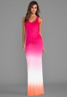 073cf2eb46b20 NWT T-BAGS HAMPTONS MAXI DRESS, FUSCHIA AND ORANGE, SIZE MEDIUM #TBags